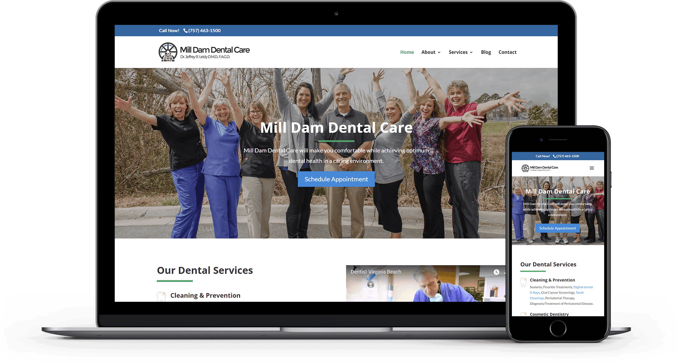 Mill Dam Dental Care Responsive Website